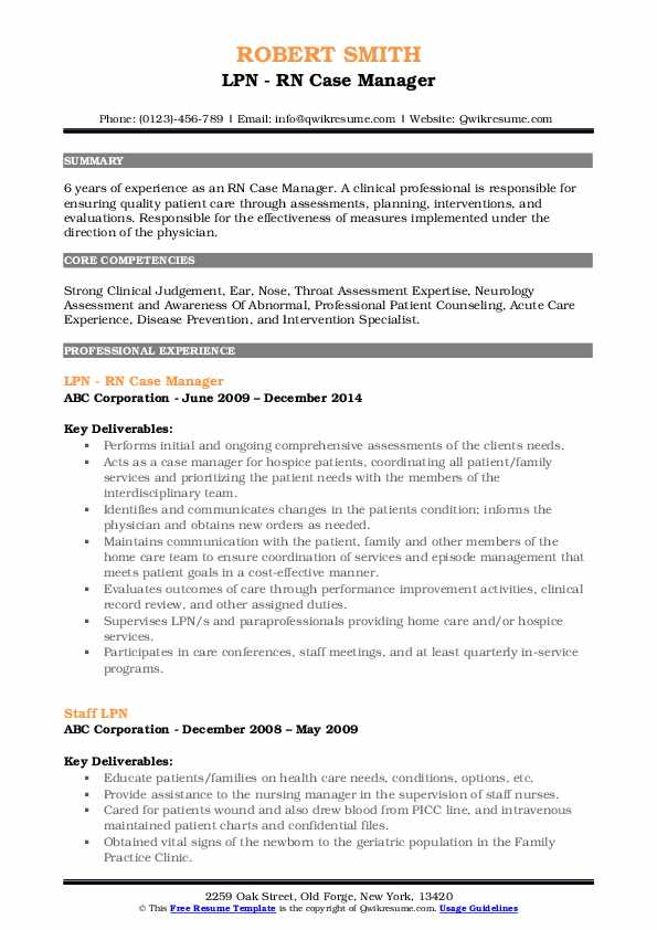LPN - RN Case Manager Resume Example
