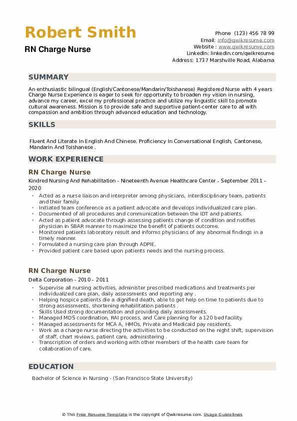 RN Charge Nurse Resume example