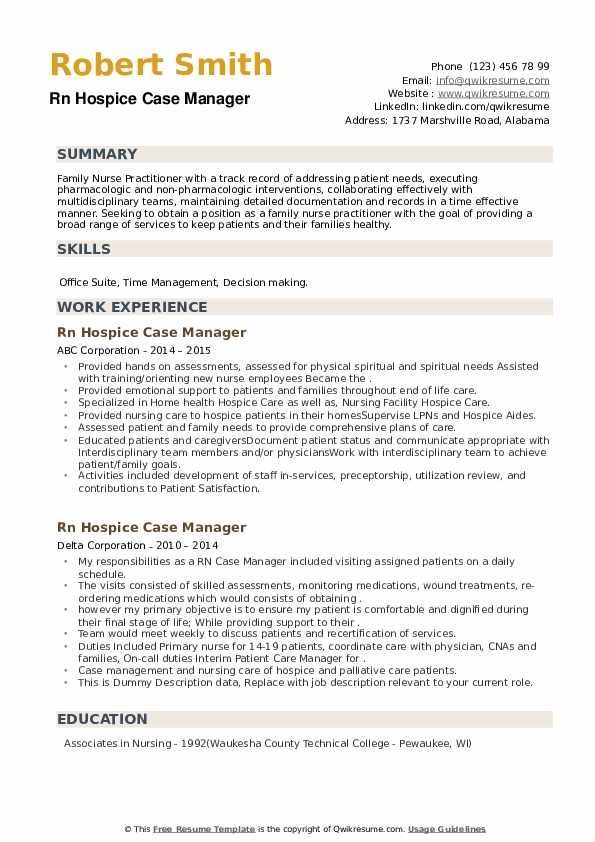 Rn Hospice Case Manager Resume example