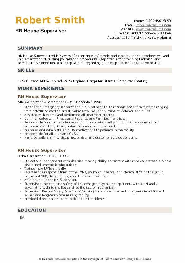 RN House Supervisor Resume example