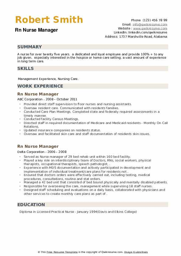 RN Nurse Manager Resume example