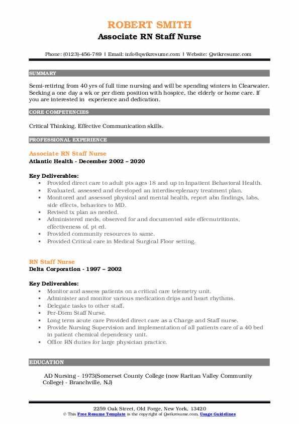 rn staff nurse resume samples