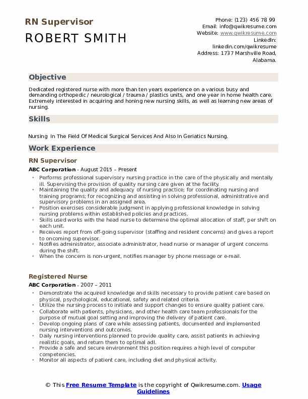 RN Supervisor Resume Format