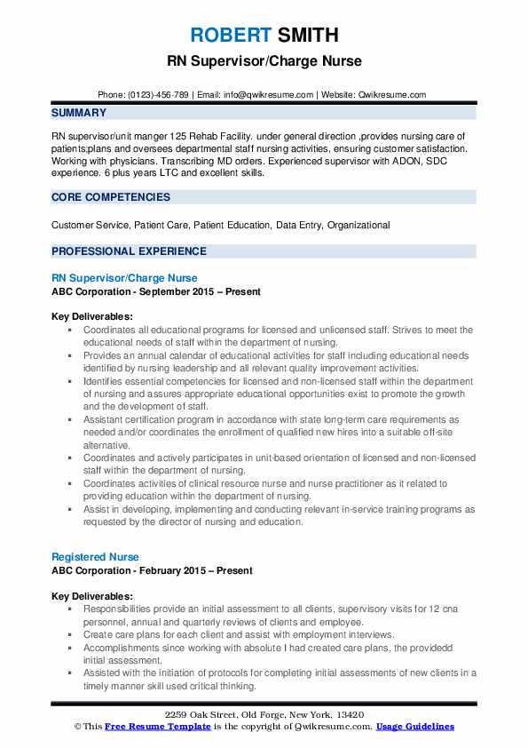RN Supervisor/Charge Nurse Resume Sample
