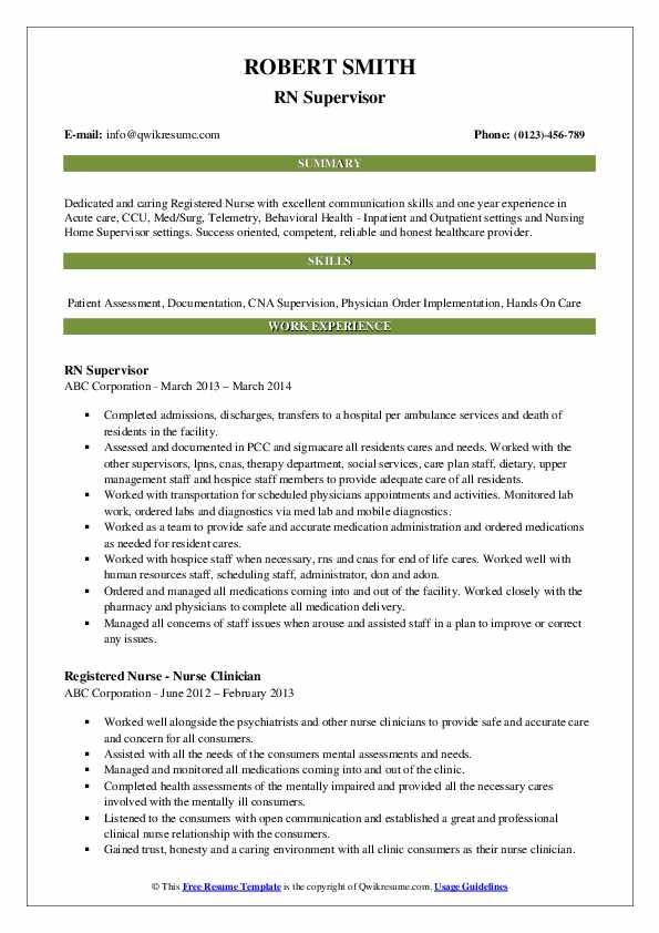 RN Supervisor Resume Sample