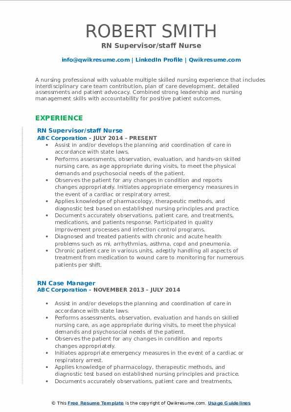 RN Supervisor/staff Nurse Resume Sample