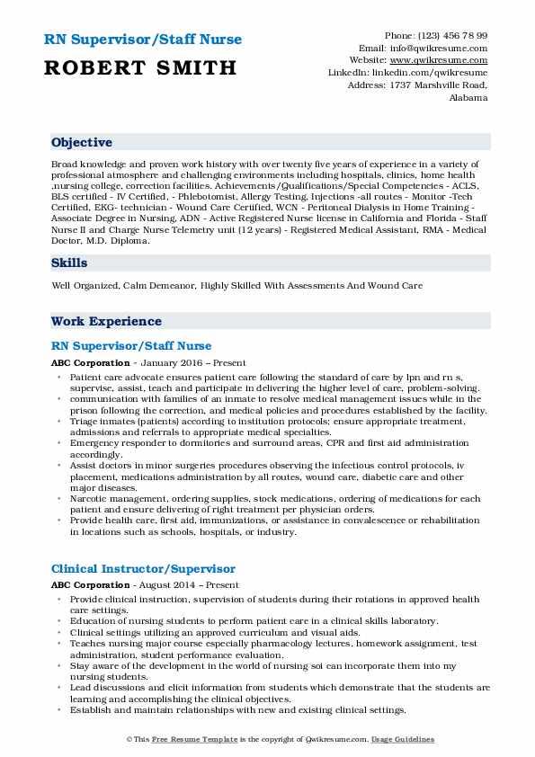 RN Supervisor/Staff Nurse Resume Format