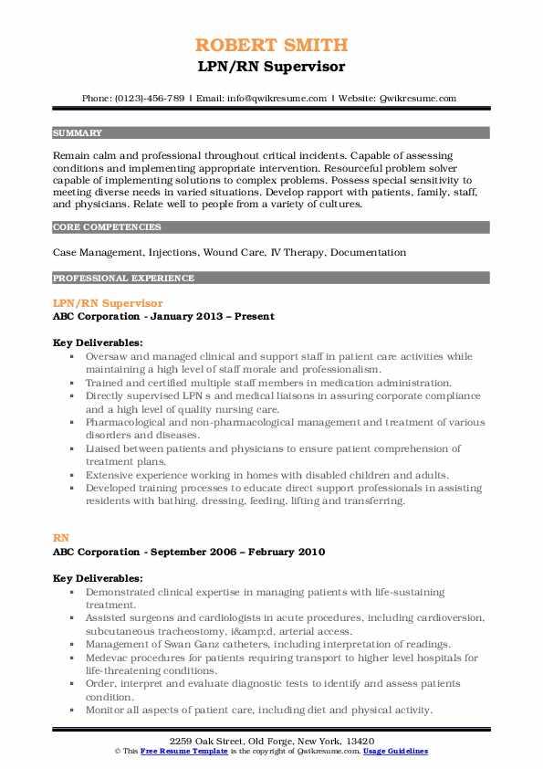 LPN/RN Supervisor Resume Sample
