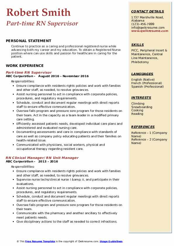 Part-time RN Supervisor Resume Template
