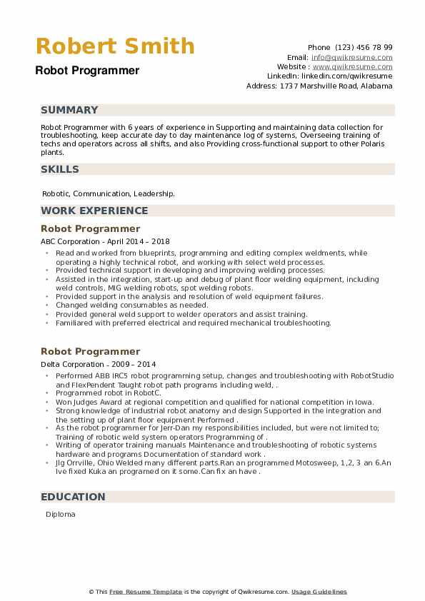 Robot Programmer Resume example