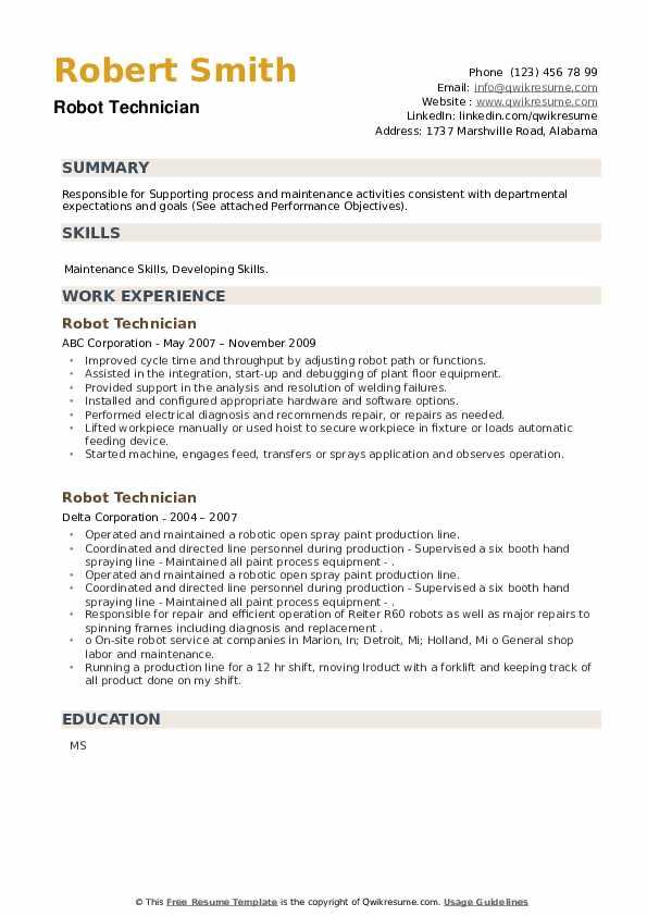 Robot Technician Resume example