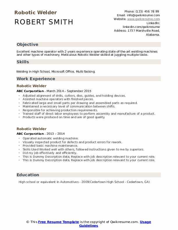 Robotic Welder Resume example