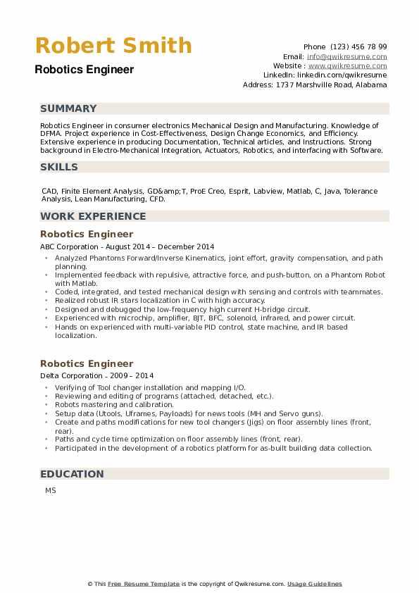 Robotics Engineer Resume example