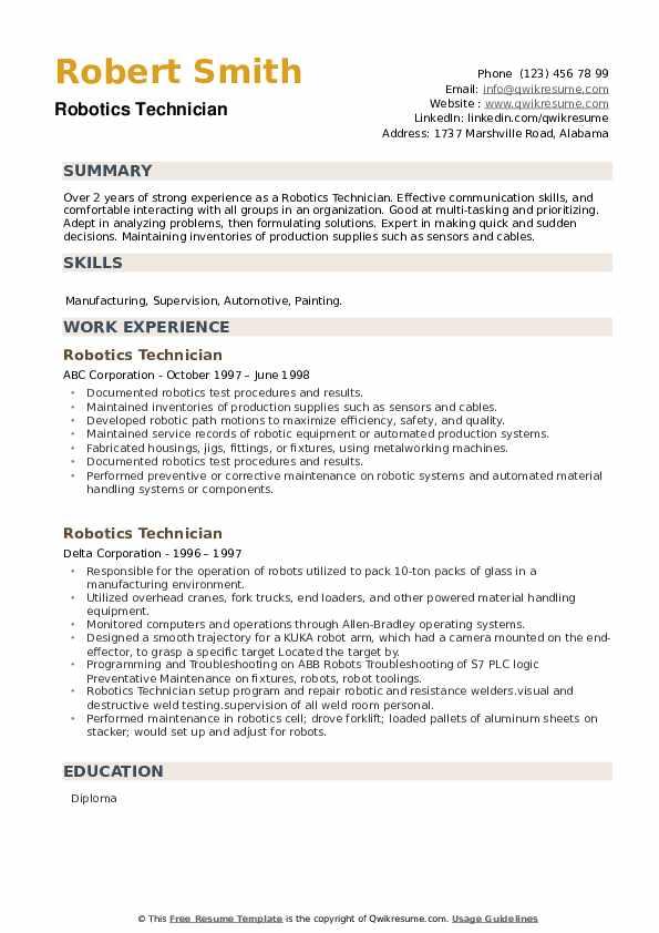 Robotics Technician Resume example