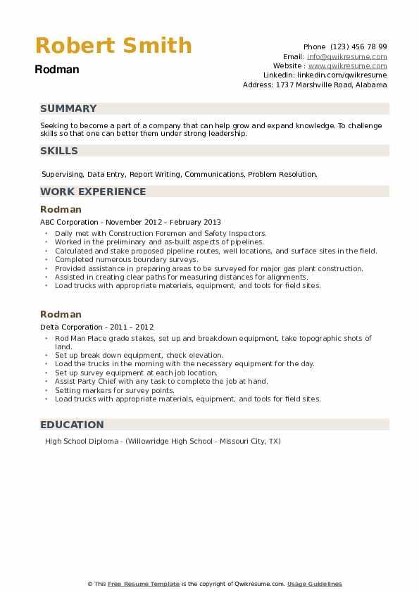 Rodman Resume example
