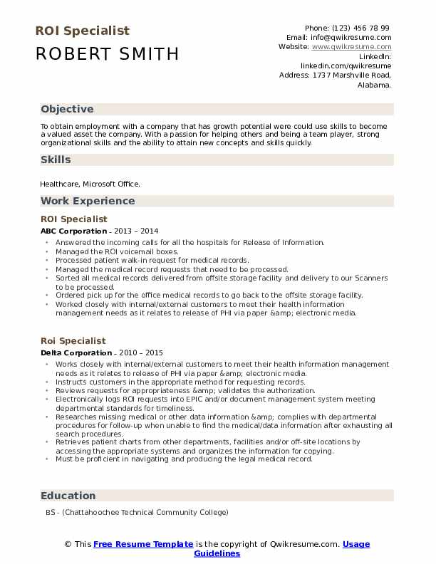 ROI Specialist Resume example