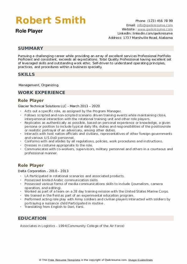Role Player Resume example
