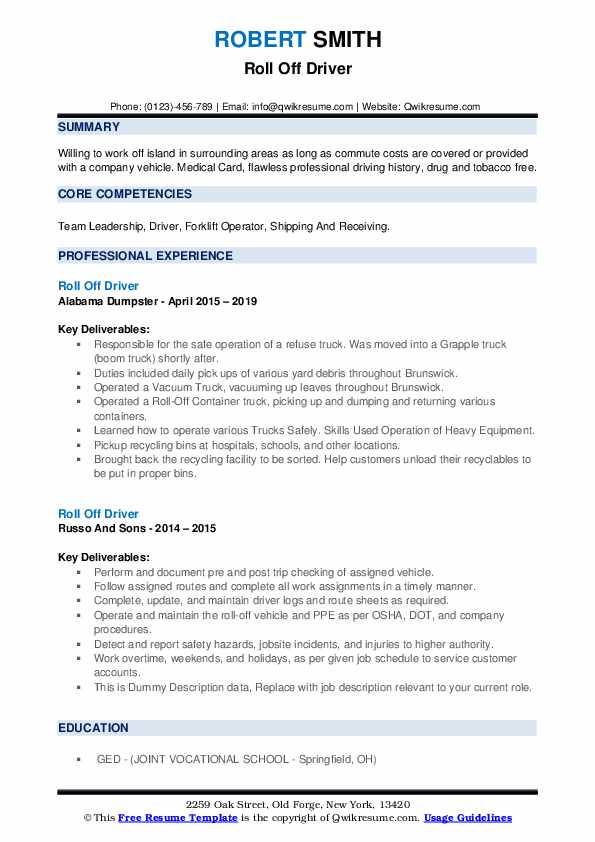 Roll Off Driver Resume example