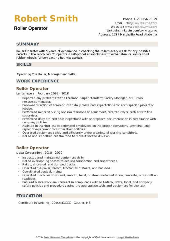 Roller Operator Resume example