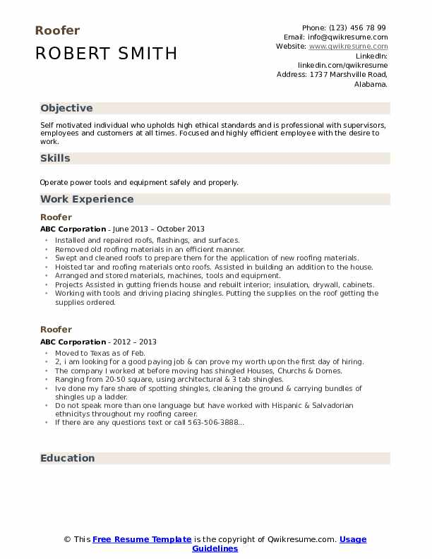 Roofer Resume example
