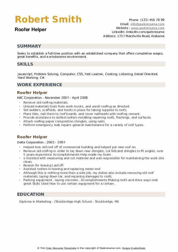 Roofer Helper Resume example