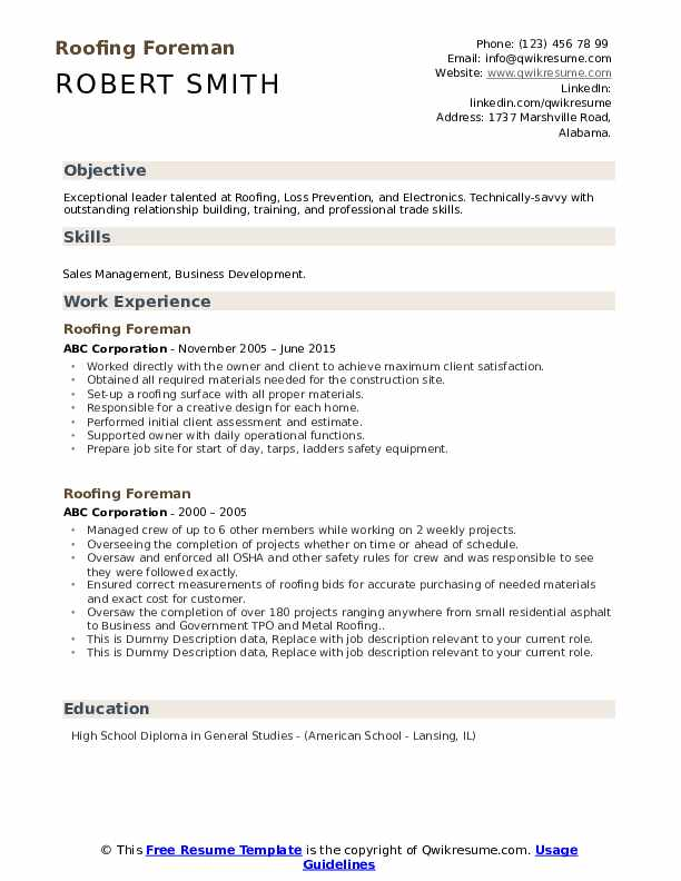 Roofing Foreman Resume example