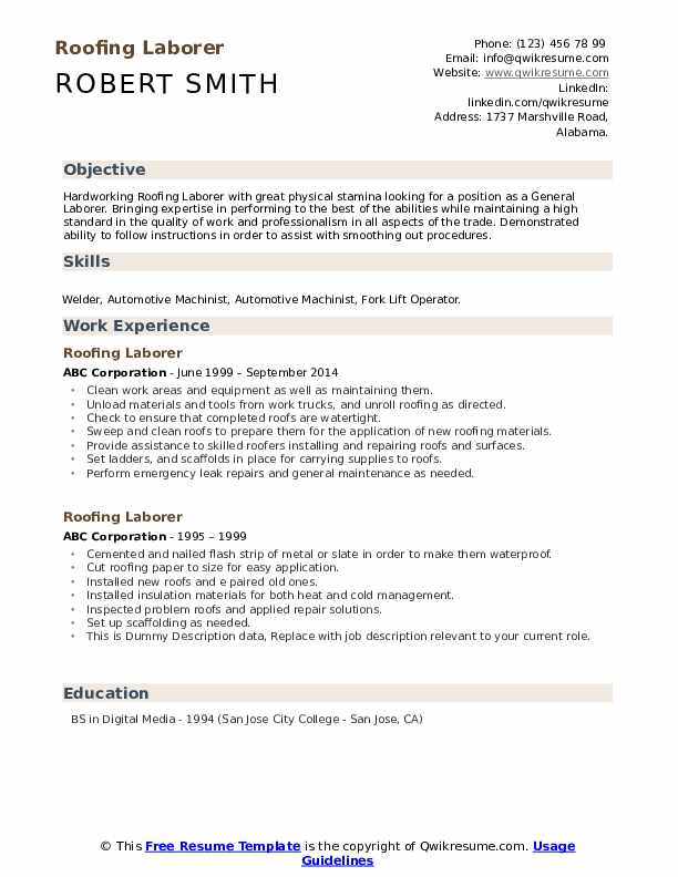 Roofing Laborer Resume example