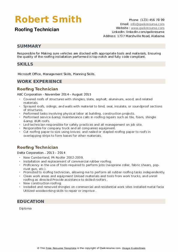 Roofing Technician Resume example