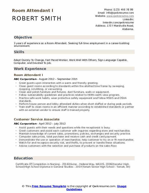 Room Attendant I Resume Sample