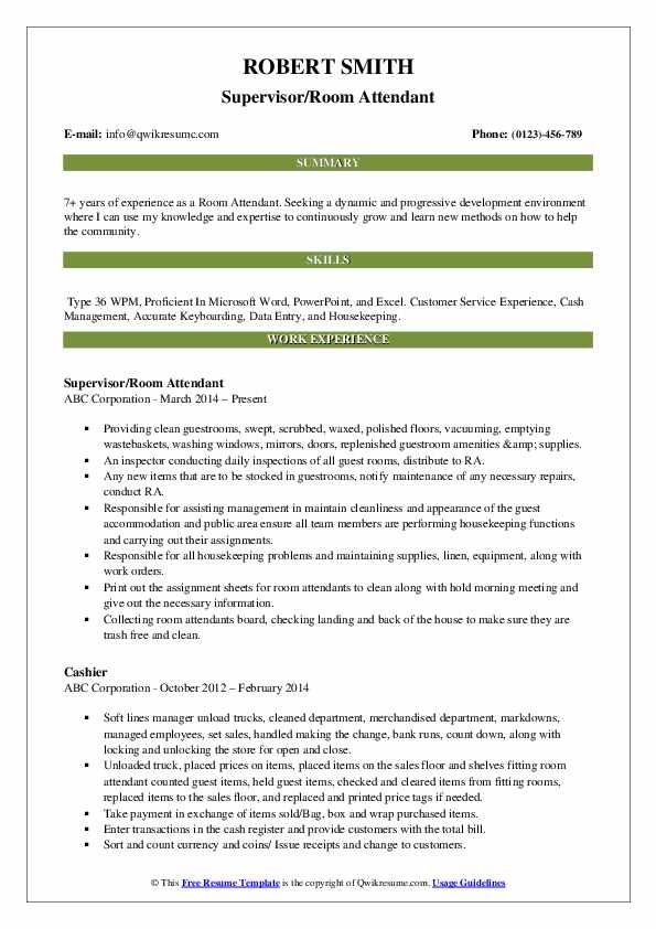 Supervisor/Room Attendant Resume Sample