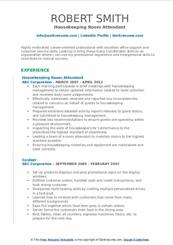Housekeeping Room Attendant Resume Template