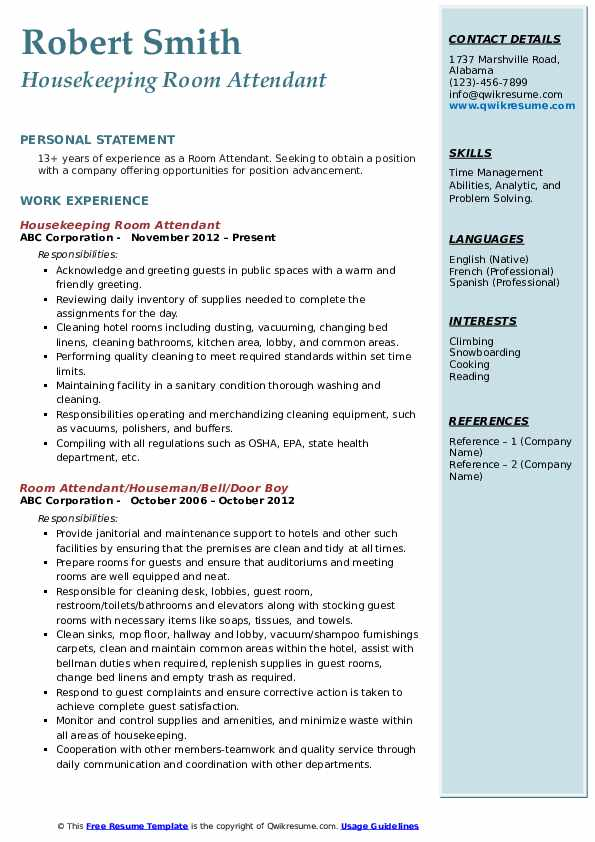Housekeeping Room Attendant Resume Example