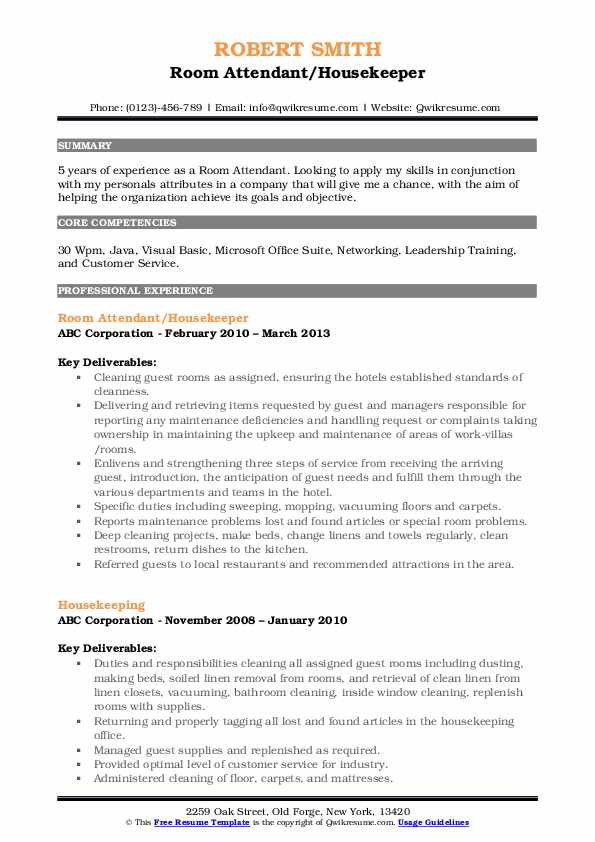 Room Attendant/Housekeeper Resume Model