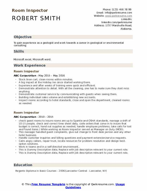 Room Inspector Resume example