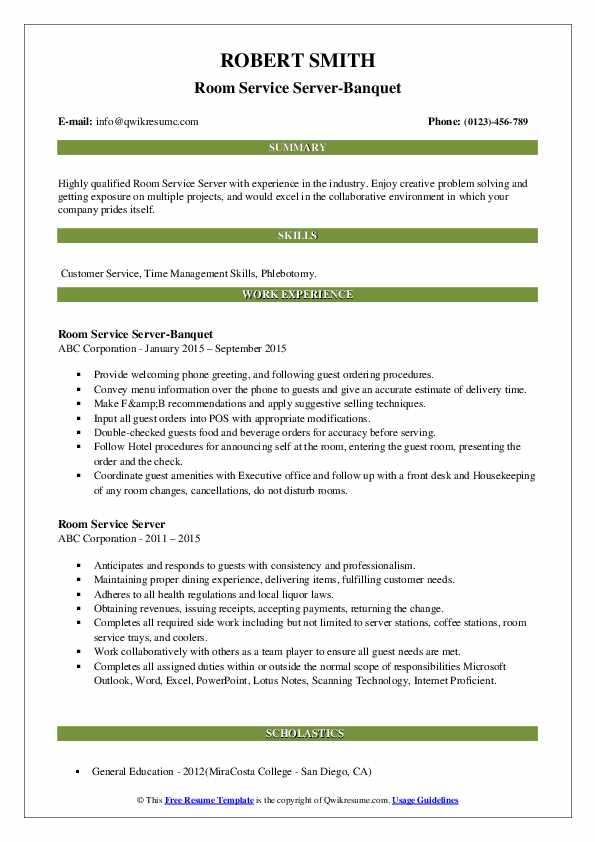 Room Service Server-Banquet Resume Format
