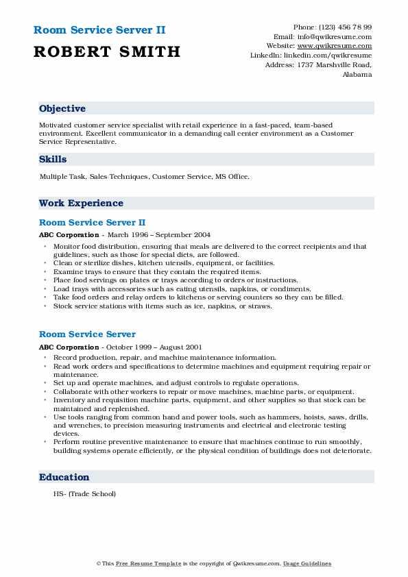 Room Service Server II Resume Format