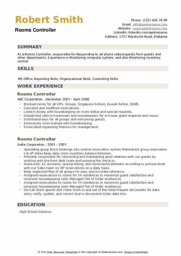 Rooms Controller Resume example