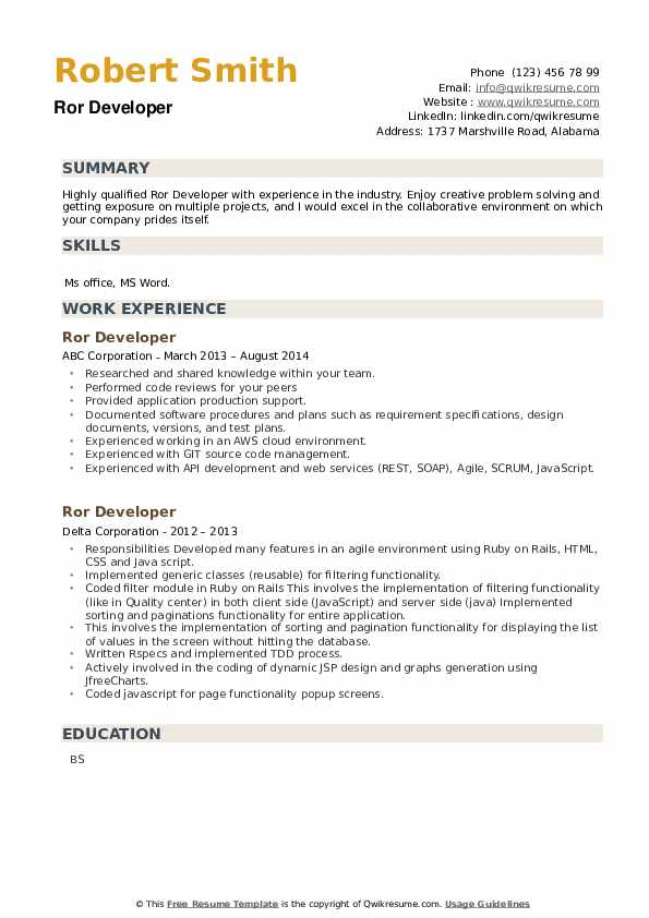 ROR Developer Resume example