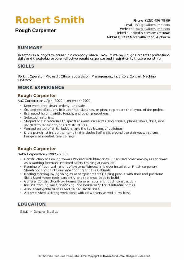 Rough Carpenter Resume example