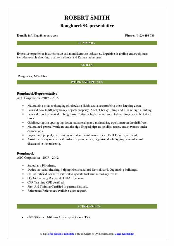 roughneck resume samples