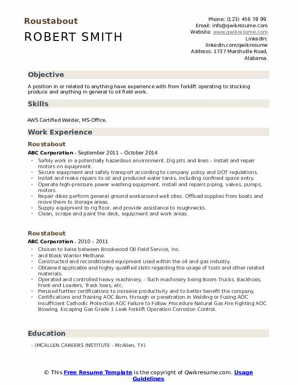 Roustabout Resume example
