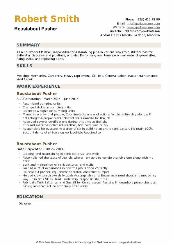 Roustabout Pusher Resume example
