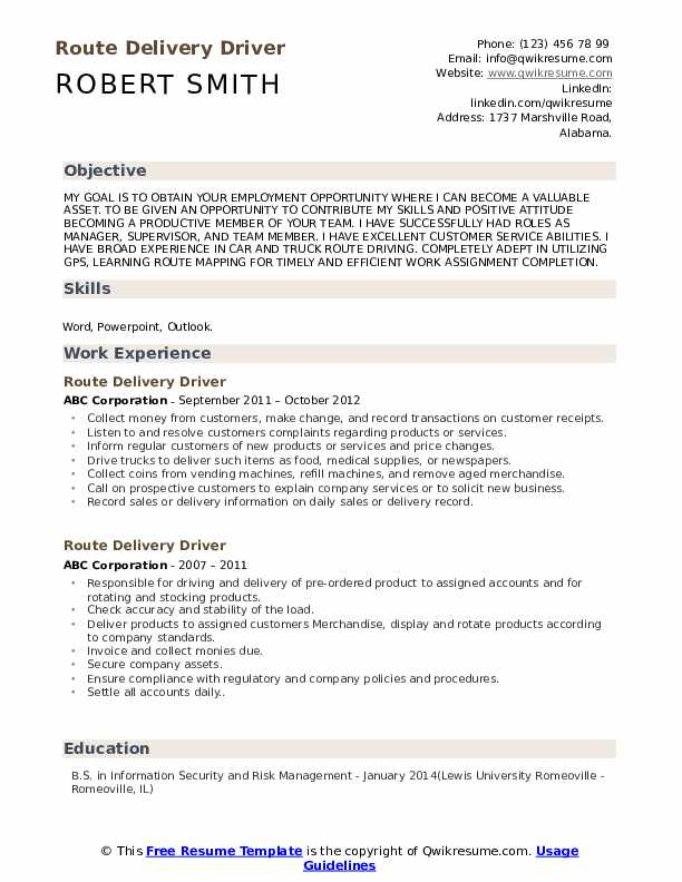 Route Delivery Driver Resume Template