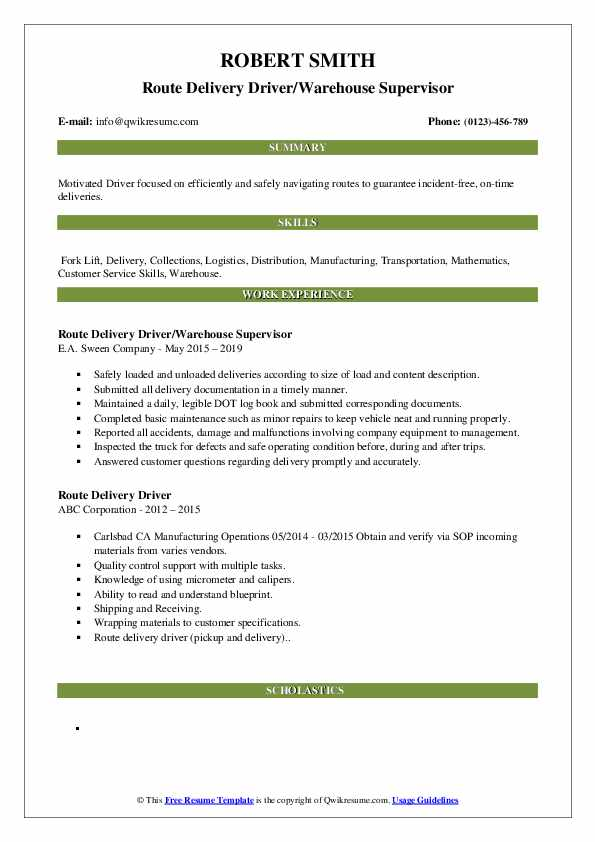 Route Delivery Driver/Warehouse Supervisor Resume Example