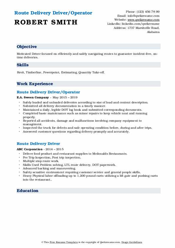 Route Delivery Driver/Operator Resume Sample
