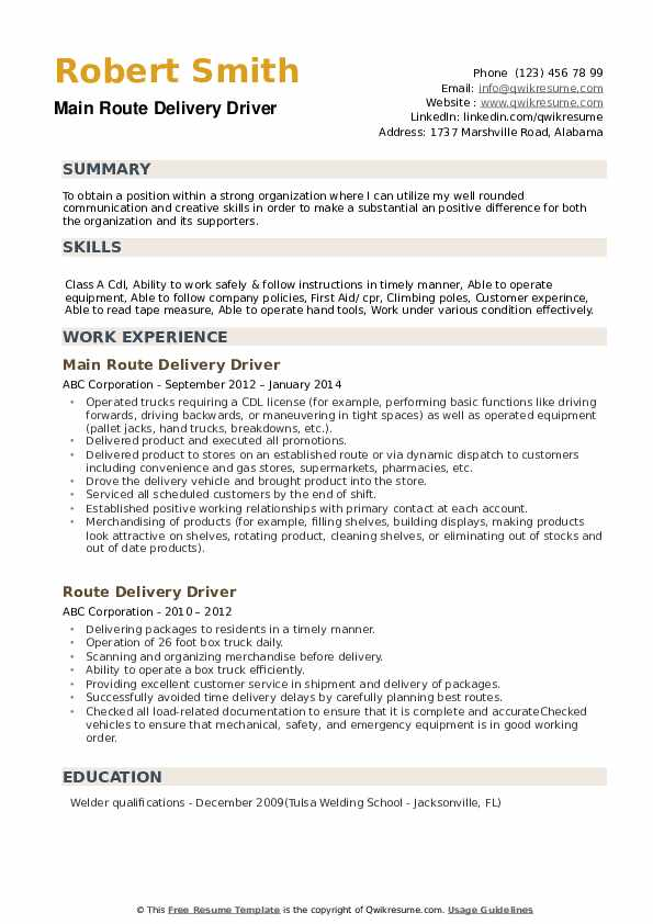 Main Route Delivery Driver Resume Model