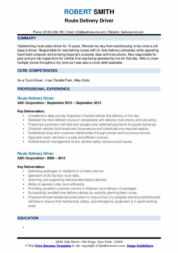 Route Delivery Driver Resume Samples Qwikresume