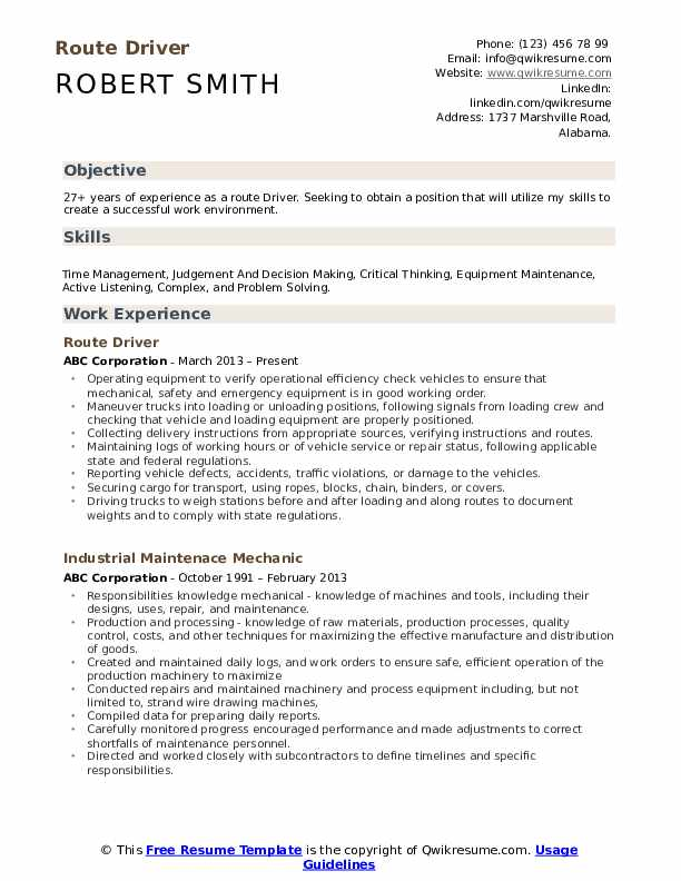 Route Driver  Resume Template