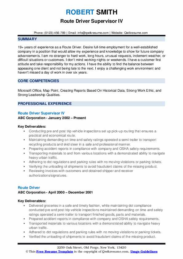 Route Driver Supervisor IV Resume Template