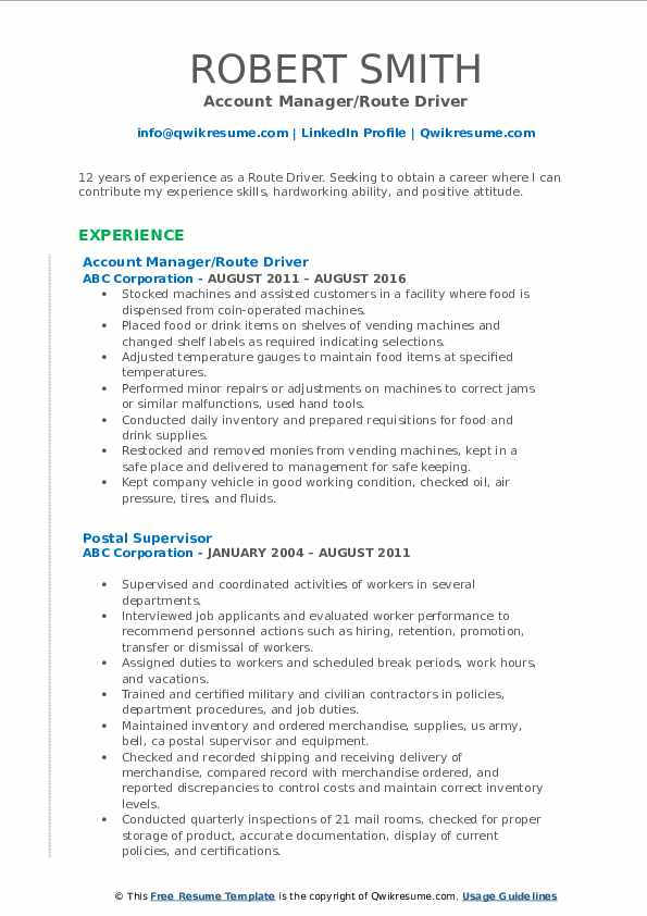 Account Manager/Route Driver Resume Sample